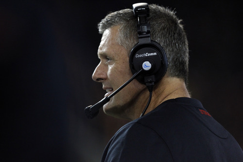Chris Detrick  |  The Salt Lake Tribune Utah Utes head coach Kyle Whittingham watches during the first half of the game against Oregon State at Reser Stadium on Saturday, Oct. 20, 2012.