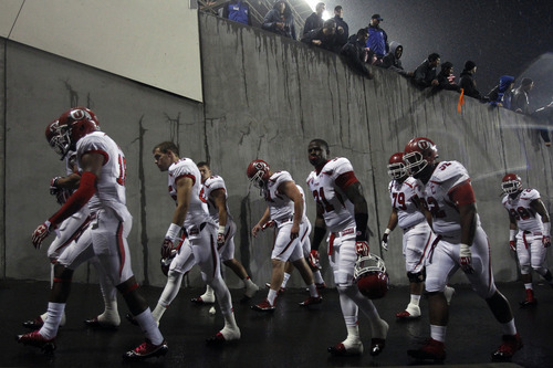 Chris Detrick     The Salt Lake Tribune The Utah Utes walk off of the field after the game at Reser Stadium Saturday October 20, 2012. Oregon State won the game 21-7.