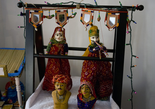 Kim Raff | The Salt Lake Tribune Puppets in Madhu Gundlapalli's doll display on her home shrine for the Hindu Navratri festival in Alpine, Utah, on Oct. 17, 2012.