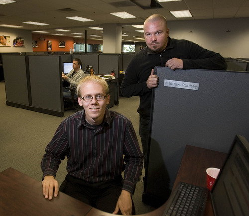 Paul Fraughton | The Salt Lake Tribune Matthew  Rongey, left, and Matthew Hardy are new hires at SEO.com.   Tuesday, October 9, 2012