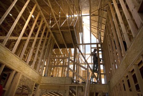 Paul Fraughton | Salt Lake Tribune A new home under construction in an Ivory Homes development in Draper.   Wednesday, October 10, 2012