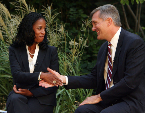 Steve Griffin   The Salt Lake Tribune   GOP challenger Mia Love and Democratic Congressman Jim Matheson shake hands during a television debate hosted by KUTV Channel 2  on Main street in Salt Lake City on Sept. 26, 2012.