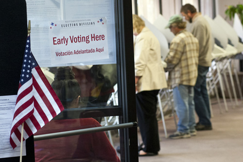 Chris Detrick  |  The Salt Lake Tribune Early voting began Tuesday and runs through Nov. 2. Election Day is Nov. 6.