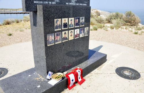 An Antelope Island monument that honors five Army Rangers and seven Air Force special force troops who died in a helicopter crash on Oct. 29, 1992, will be rededicated Saturday at 3 p.m.   Courtesy Heidi Benson  |  aride2remember.com
