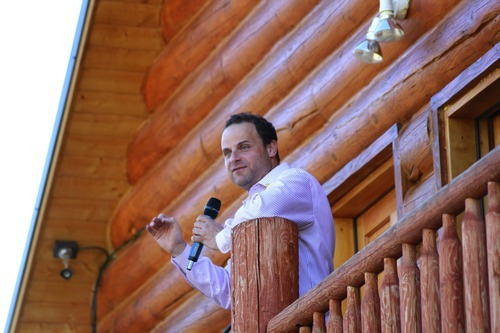 Greg Peterson speaks the 2nd annual Rocky Mountain Conservatives BBQ held at his cabin near Heber on July 1, 2011.