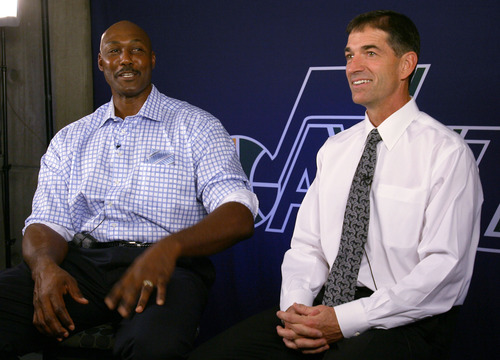 Steve Griffin | The Salt Lake Tribune   Karl Malone and John Stockton talk about staying in shape during an interview, at EnergySolutions Arena, prior to the former  Jazz teammates' induction into the Utah Sports Hall Of Fame in Salt Lake City on Oct. 23, 2012.