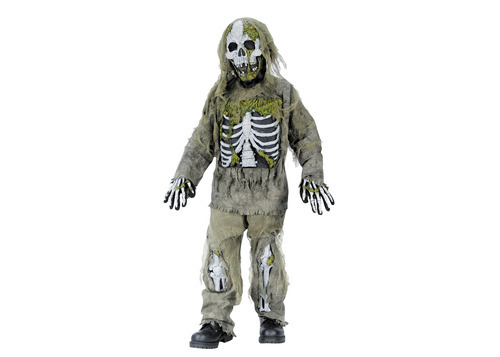 This undated product image released by Part City shows a boys skeleton zombie costume. Catering to the popular zombie craze, Halloween costumes for young children are getting more grisly. Even costumes that were once benign now have violent twists: The sweet, simple