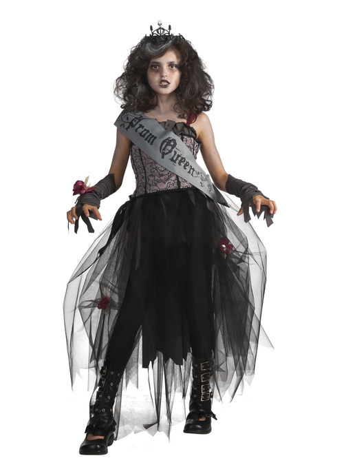 This undated product image released by Part City shows a girl wearing a zombie queen costume. Catering to the popular zombie craze, Halloween costumes for young children are getting more grisly. Even costumes that were once benign now have violent twists: The sweet, simple
