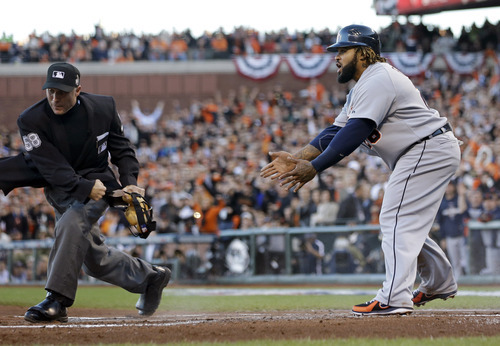 Detroit Tigers' Prince Fielder reacts to umpire Dan Iassogna after being called out at home on a tag from San Francisco Giants' Buster Posey during the second inning of Game 2 of baseball's World Series Thursday, Oct. 25, 2012, in San Francisco. (AP Photo/Marcio Jose Sanchez)