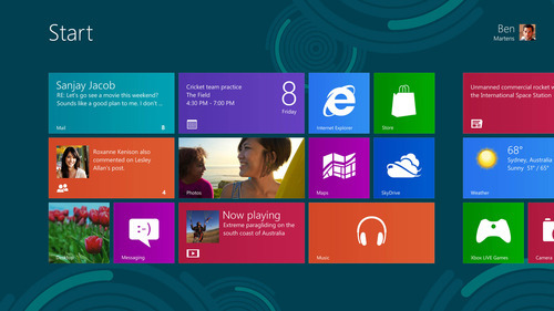 Screenshot of the new Windows 8 operating system. Courtesy image