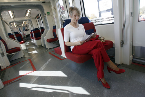 Francisco Kjolseth  |  The Salt Lake Tribune Candace Anderson of West Jordan takes the TRAX train for the second time in her life as she rides the Red Line into downtown Salt Lake to meet her husband for their 40th wedding anniversary on October 4.