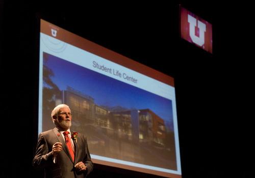 Kim Raff | The Salt Lake Tribune The 15th University of Utah president, David Pershing, gives an inaugural address at Kingsbury Hall in Salt Lake City on Thursday, October 25, 2012.