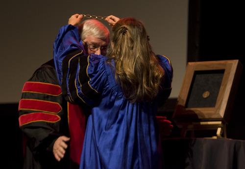 Kim Raff | The Salt Lake Tribune The 15th University of Utah president, David Pershing, is inaugurated by Bonnie Beesley at Kingsbury Hall in Salt Lake City on Thursday, October 25, 2012.