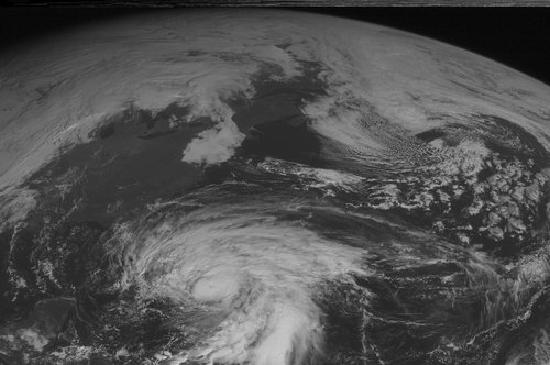 This NOAA satellite image taken Thursday, October 25, 2012 at 10:45 AM EDT shows Hurricane Sandy over the Bahamas with maximum sustained winds of 105 mph and moving toward the north. Farther north, a cold front moves into the Great Lakes and Ohio Valley with showers and thunderstorms. (AP PHOTO/WEATHER UNDERGROUND)