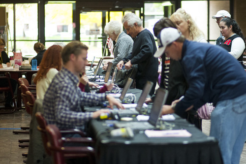 Chris Detrick  |  The Salt Lake Tribune Residents take advantage of early voting at the Salt Lake County Government Center. Early voting began Tuesday and will run through Nov. 2.