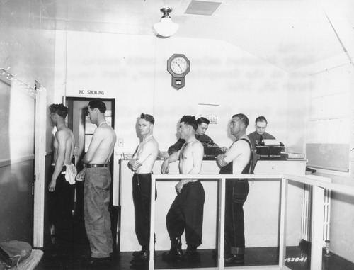 Recruits from three states were processed into the Army at Fort Douglas during World War II. The physical exam was one of the most important aspects. The fort did not house ground forces during the war, but had 1,000 officers and enlisted soldiers and twice as many civilian employees. Photo courtesy of Fort Douglas Museum.