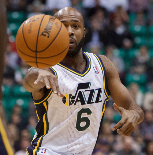 Trent Nelson  |  The Salt Lake Tribune Utah Jazz guard Jamaal Tinsley (6) passes the ball as the Utah Jazz host the Portland Trailblazers in preseason NBA basketball Thursday October 25, 2012 at EnergySolutions Arena in Salt Lake City, Utah.