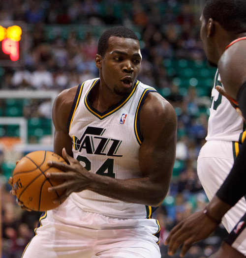 Trent Nelson  |  The Salt Lake Tribune Utah Jazz forward Paul Millsap (24) looks for a shot as the Utah Jazz host the Portland Trailblazers in preseason NBA basketball Thursday October 25, 2012 at EnergySolutions Arena in Salt Lake City, Utah.