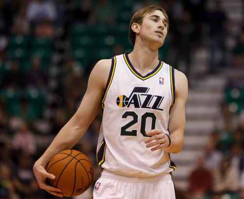 Trent Nelson  |  The Salt Lake Tribune Utah Jazz forward Gordon Hayward (20) as the Utah Jazz host the Portland Trailblazers in preseason NBA basketball Thursday October 25, 2012 at EnergySolutions Arena in Salt Lake City, Utah.