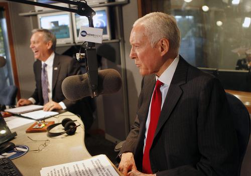 Al Hartmann | The Salt Lake Tribune Democrat Scott Howell; left; and Republican Sen. Orrin Hatch prepare for their second and final debate on KSL Radio's Doug Wright show Friday.