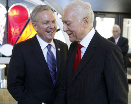 Al Hartmann  |  The Salt Lake Tribune Sen. Orrin Hatch, right, chats with challenger Scott Howell before the pair's second and final debate in the U.S. Senate race. Hatch said Utahns know that he will best represent their interests in Washington.