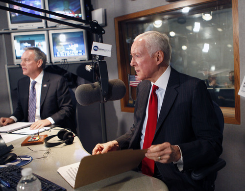 Al Hartmann  |  The Salt Lake Tribune Democrat Scott Howell, left, and Republican Senator Orrin Hatch prepare before their second and final debate, on KSL Radio's Doug Wright show Friday Ocotber 26.