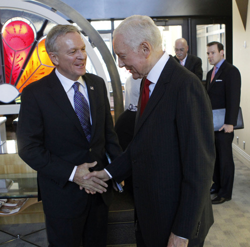 Al Hartmann  |  The Salt Lake Tribune Democrat Scott Howell, left, and Republican Senator Orrin Hatch greet each other before their second and final debate, on KSL Radio's Doug Wright  show Friday Ocotber 26.