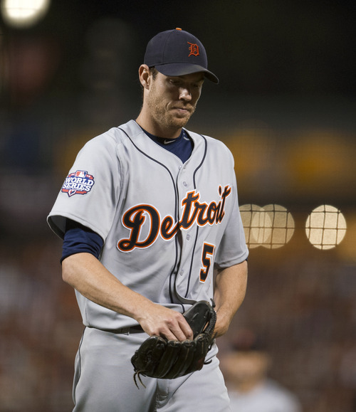 Detroit Tigers starting pitcher Doug Fister heads to the dugout after being removed from Game 2 against the San Francisco Giants in baseball's World Series, Thursday, Oct. 25, 2012, in San Francisco. The Giants won 2-0. (AP Photo/The Sacramento Bee, Paul Kitagaki Jr.) MAGS OUT; TV OUT (KCRA3, KXTV10, KOVR13, KUVS19, KMAZ31, KTXL40) MANDATORY CREDIT