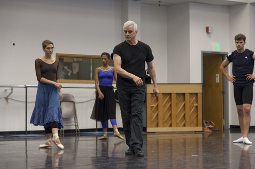 Choreographer Val Caniparoli working with Ballet West dancers in rehearsal of