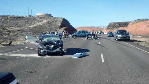 The driver of a Ford-150 was flown to the hospital Saturday from the scene of a five-vehicle crash on Interstate 15. The southbound F-150 crossed the median near St. George and was broad sided by a Chevy Silverado about 8:48 a.m. Three other vehicles also became involved, and as many as six others were also taken to the hospital in ambulances. Courtesy of UHP