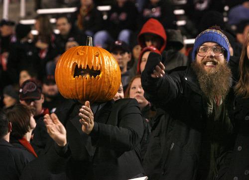 Scott Sommerdorf     The Salt Lake Tribune               Happy Ute fans near the end of the game. Utah beat Cal 49-27, Saturday, October 27, 2012.