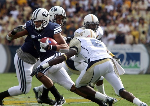 Rick Egan  | The Salt Lake Tribune   ]Brigham Young Cougars wide receiver Ross Apo (1) gets past Georgia Tech Yellow Jackets cornerback Rod Sweeting (6) in football action BYU vs Georgia Tech, at Bobby Dodd Stadium in Atlanta, Saturday, October 27, 2012