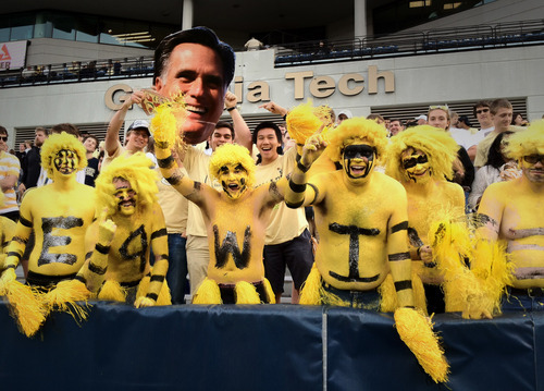 Rick Egan    The Salt Lake Tribune   The Goldfella's cheer for their Yellow Jackets, as they faced BYU, at Bobby Dodd Stadium in Atlanta, Saturday, October 27, 2012