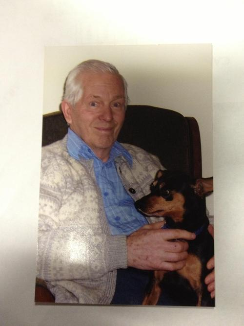 Fritz Helland and his Miniature Doberman Pincher. A search is under way to find Helland, of Millcreek, and the dog, who were last seen on Oct. 24, 2012