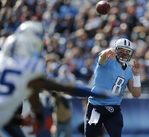 Tennessee Titans quarterback Matt Hasselbeck (8) throws against the Indianapolis Colts during the first half of an NFL football game Sunday, Oct. 28, 2012, in Nashville, Tenn. (AP Photo/Joe Howell)