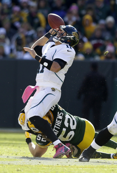 Jacksonville Jaguars' Blaine Gabbert is pressured by Green Bay Packers' Clay Matthews(52) in the first half of an NFL football game Sunday, Oct. 28, 2012, in Green Bay, Wis. (AP Photo/Jeffrey Phelps)