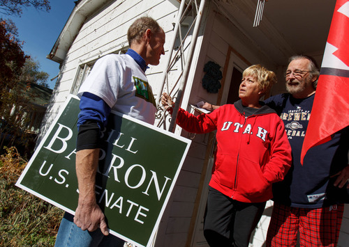 Trent Nelson  |  The Salt Lake Tribune Senate candidate Bill Barron is running on an environmental platform. He spoke to Cassie Craig and Bradley Bassi while going door to door Saturday October 27, 2012 in Salt Lake City, Utah.
