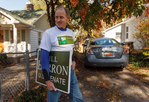 Trent Nelson  |  The Salt Lake Tribune Senate candidate Bill Barron is running on an environmental platform. He spoke to voters while going door to door Saturday October 27, 2012 in Salt Lake City, Utah.
