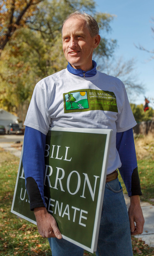 Trent Nelson  |  The Salt Lake Tribune Senate candidate Bill Barron is running on an environmental platform. He spoke to voters while going door to door Saturday October 27, 2012 in Salt Lake City, Utah.