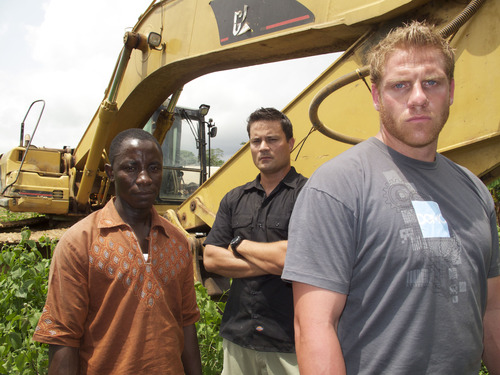 "Victor Kpah, Scott Lomu and George Wright in the Discovery Channel series ""Jungle Gold."" (Courtesy photo)"