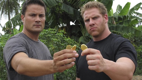 "Scott Lomu and George Wright in the Discovery Channel series ""Jungle Gold."" (Courtesy photo)"