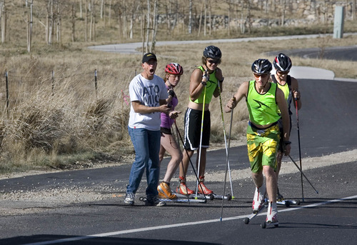 Paul Fraughton | The Salt Lake Tribune After school is out, teacher and nordic coach Bill Hokanson starts his stopwatch as he sends his athletes on a timed hill climb on their ski skates. From left: Mia Anderson, Aren Burkemo, Henry Gorman and Karsten Hokanson, in front.
