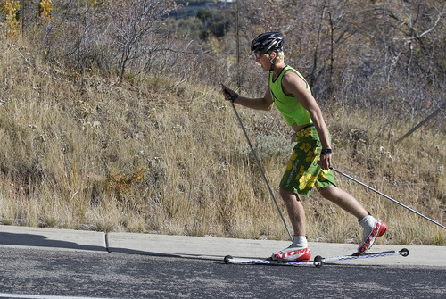Paul Fraughton | The Salt Lake Tribune Karsten Hokanson trains on the road leading to Utah Olympic  Park.   Wednesday, October 10, 2012