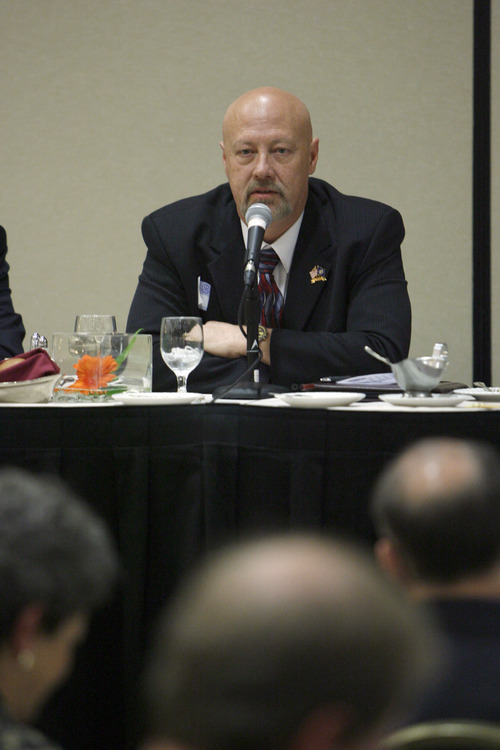 Francisco Kjolseth  |  The Salt Lake Tribune Democrat Jay Seegmiller debates Republican Chris Stewart  during a 2nd Congressional District debate Tuesday before the Rotary Club. The rivals have different approaches to balancing the federal budget.