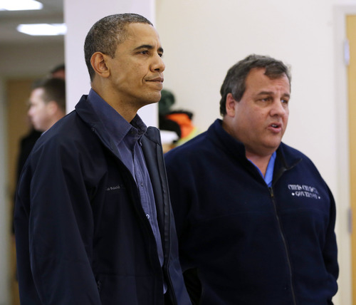 President Barack Obama and New Jersey Gov. Chris Christie visit the Brigantine Beach Community Center to meet with local residents, Wednesday, Oct. 31, 2012,  in Brigantine, NJ. Obama traveled to Atlantic Coast to see first-hand the relief efforts after Superstorm Sandy damage the Atlantic Coast. (AP Photo/Pablo Martinez Monsivais)