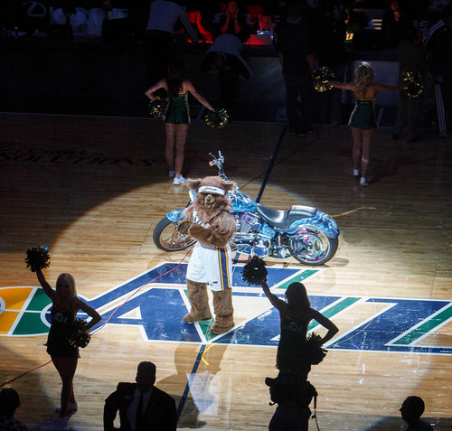 Trent Nelson  |  The Salt Lake Tribune Bear, the mascot of the Utah Jazz, gets the crowd going as the Utah Jazz host the Dallas Mavericks on Wednesday, Oct. 31, 2012 at EnergySolutions Arena in Salt Lake City.