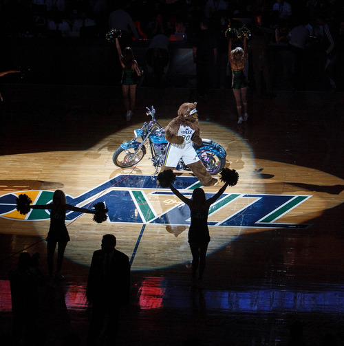 Trent Nelson  |  The Salt Lake Tribune Bear, the mascot of the Utah Jazz, gets the crowd going during the Jazz season opener againt Dallas on Wednesday, Oct. 31, 2012 at EnergySolutions Arena in Salt Lake City.