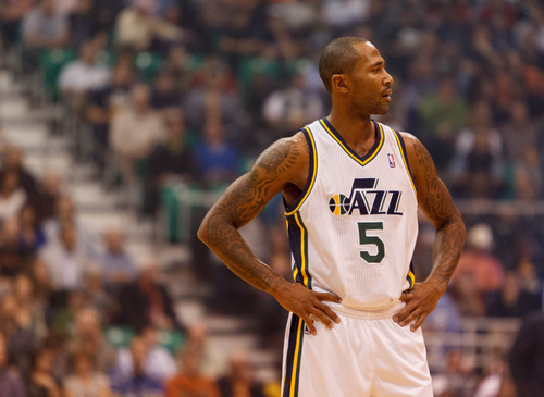 Trent Nelson  |  The Salt Lake Tribune Utah Jazz guard Mo Williams on the court during the Jazz season opener against Dallas on Wednesday, Oct. 31, 2012 at EnergySolutions Arena in Salt Lake City.