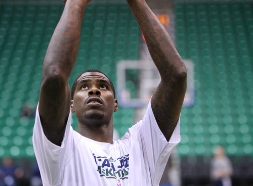 Steve Griffin | The Salt Lake Tribune   Jazz forward Marvin Williams warms up prior to the tip of the Jazz versus Mavericks game at EnergySolutions Arena  in Salt Lake City, Utah Wednesday October 31, 2012.