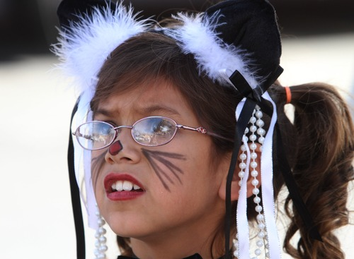 Rick Egan  |  The Salt Lake Tribune  Eight-year-old Rian Lynch dressed like a cat for the Salt Lake Police Department's annual free Trick or Treat Event, Wednesday, October 31, 2012.